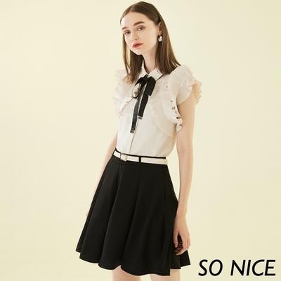 SO NICE俏麗皮帶造型褲裙