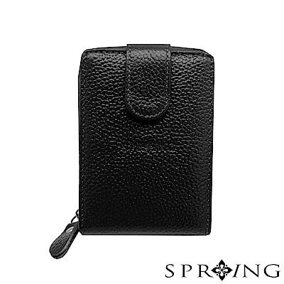 SPRING-網路獨家-簡約荔紋卡片拉鍊包-經典黑