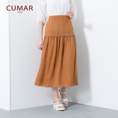 【CUMAR】氣質度假風簡約-長裙(二色/版型適中)