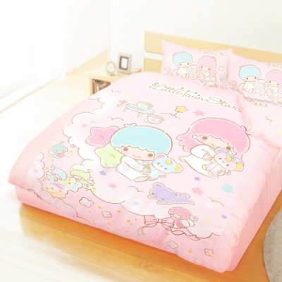 享夢城堡 精梳棉雙人加大床包兩用被套四件組-雙星仙子Little Twin Stars 小熊扮家家-粉