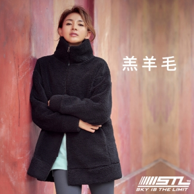 STL Bosong Metro Zip up 韓國 羔羊毛 運動休閒立領長版保暖外套 黑