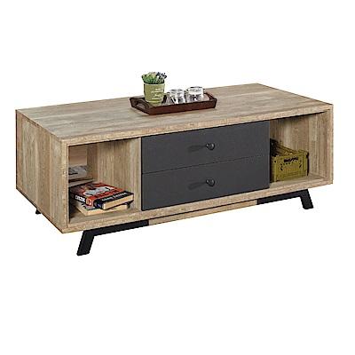 品家居 維文4尺木紋雙色二抽大茶几-120x60x45cm免組