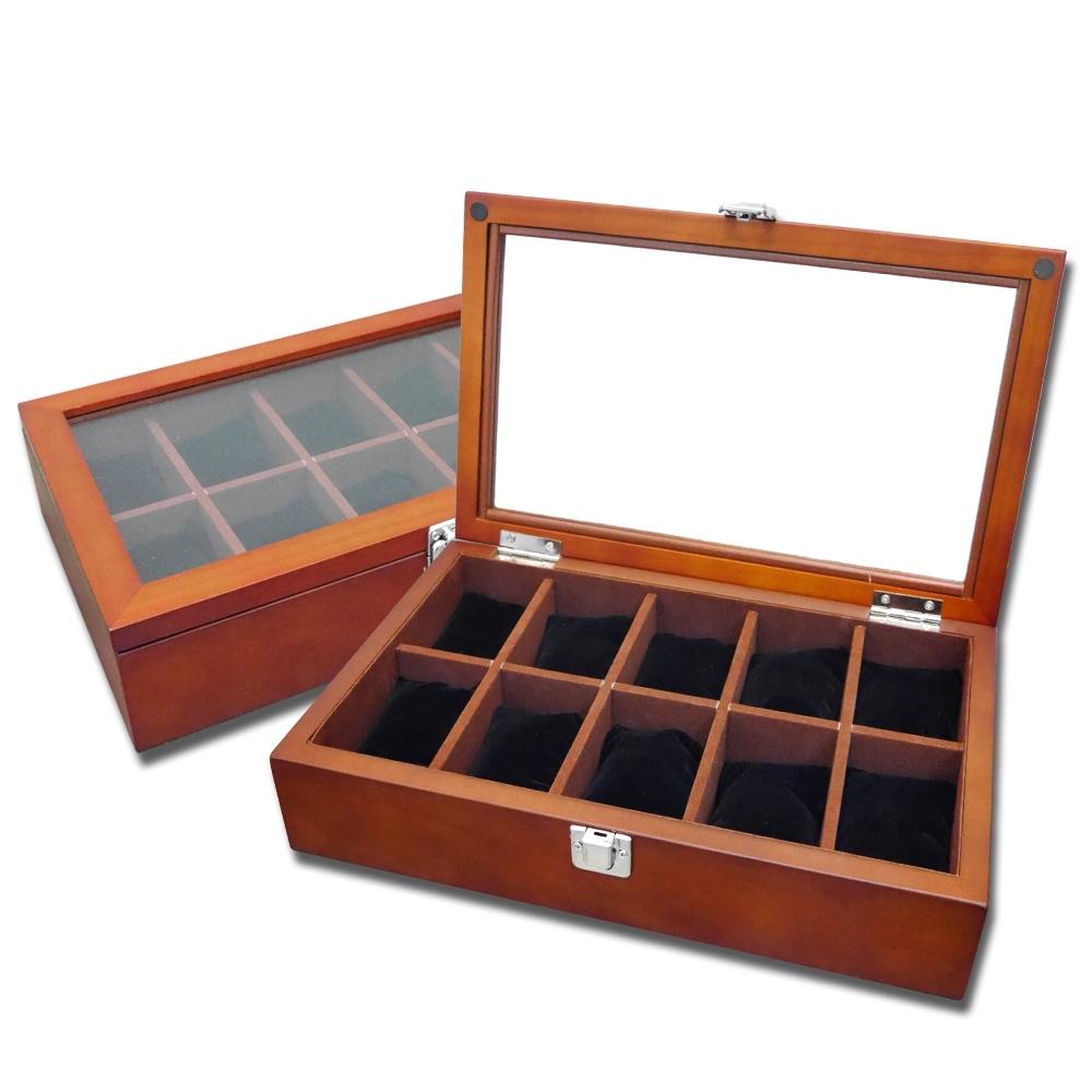 10入手錶收藏盒 配件收納 腕錶收藏盒 實木質感 - 紅褐木色