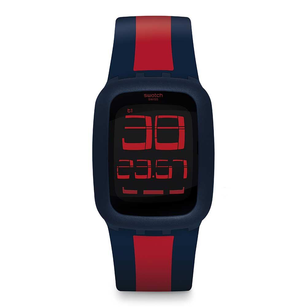 Swatch TOUCH系列 藍紅交織手錶