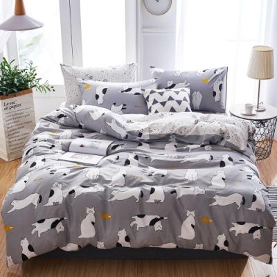 A-ONE 100%純棉-黑白E系列-加大床包/枕套組-貪吃小貓