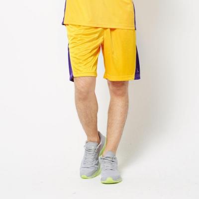 【FIVE UP】男款撞色剪接吸濕排汗籃球褲-黃