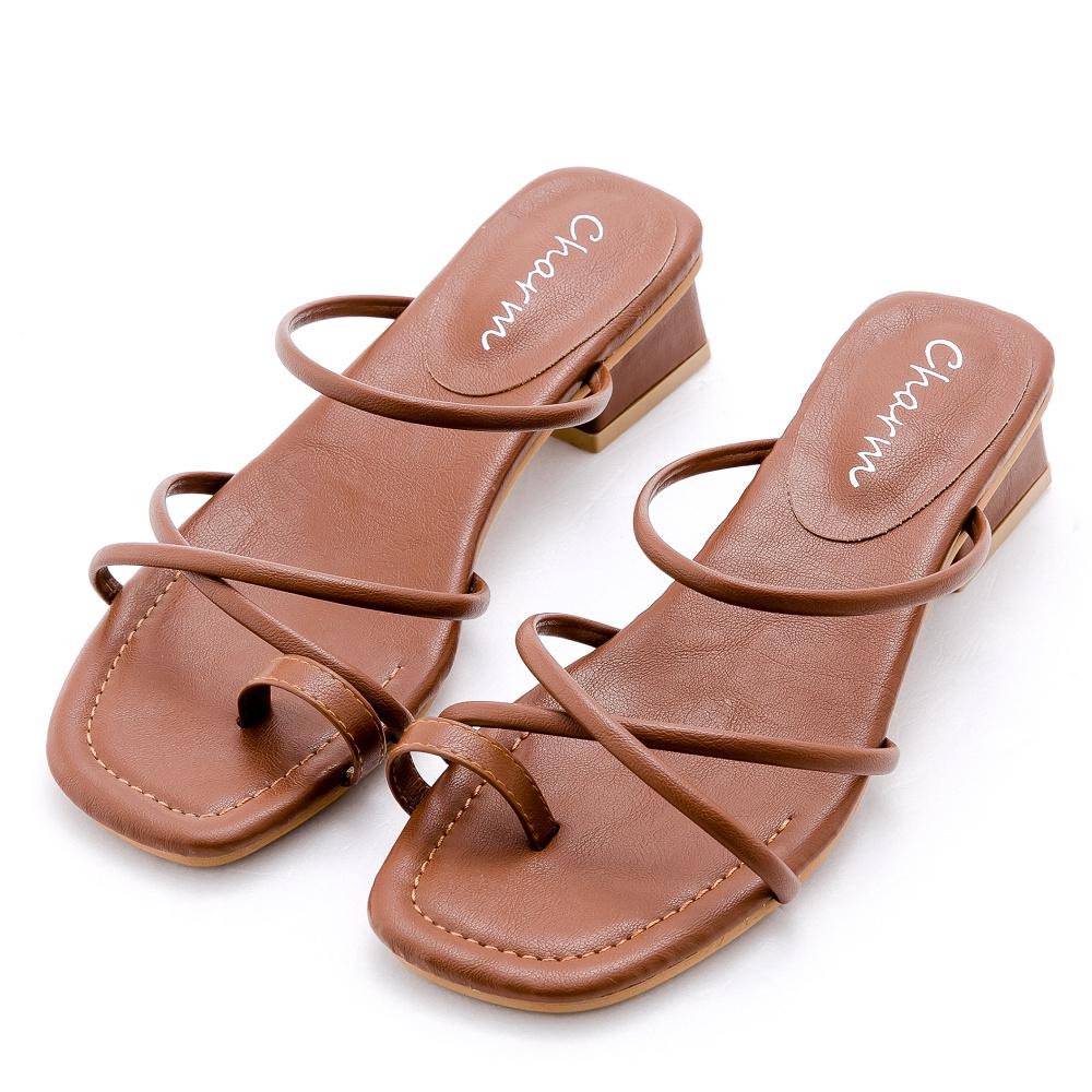 River&Moon涼鞋 交叉細帶套指方頭低跟涼鞋-棕