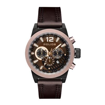 POLICE 雙縫線多功能三眼腕錶-黑色X棕色(15529JSBBN-12)-47mm