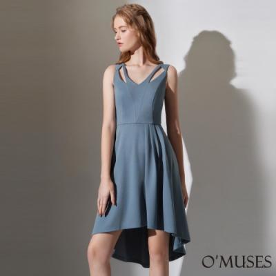 OMUSES V領簍空前短後長洋裝