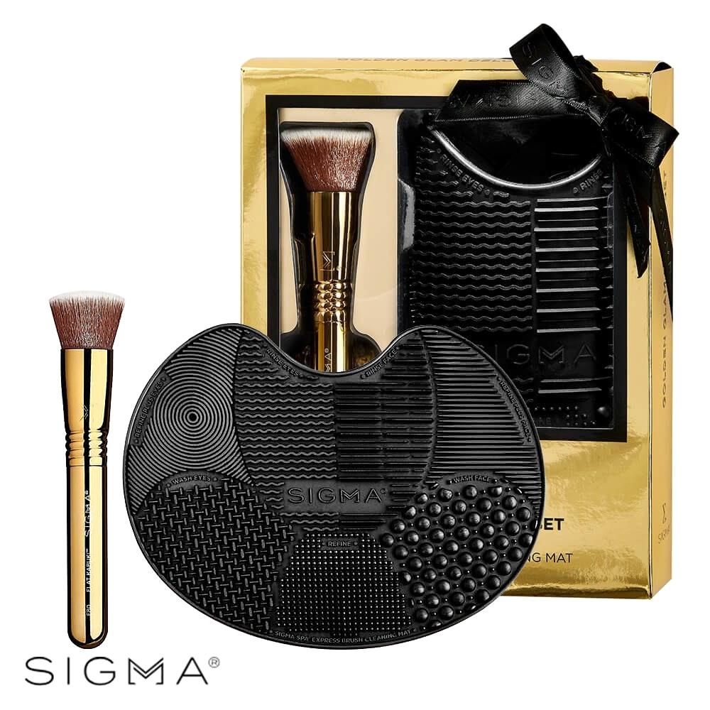 Sigma 璀璨奢華典藏刷具組-F80 平角粉底底妝刷-奢華金+刷具清潔墊-黑色