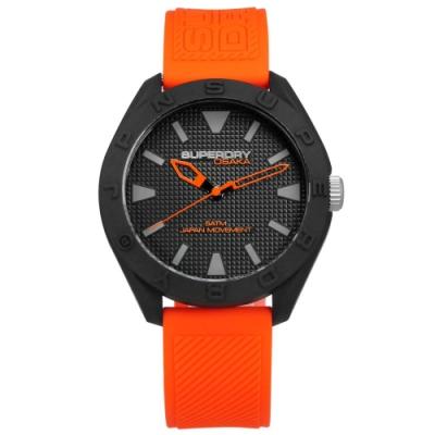 Superdry 極度乾燥 潮流品牌 獨特撞色 日本機芯 舒適矽膠手錶-黑x橘/42mm