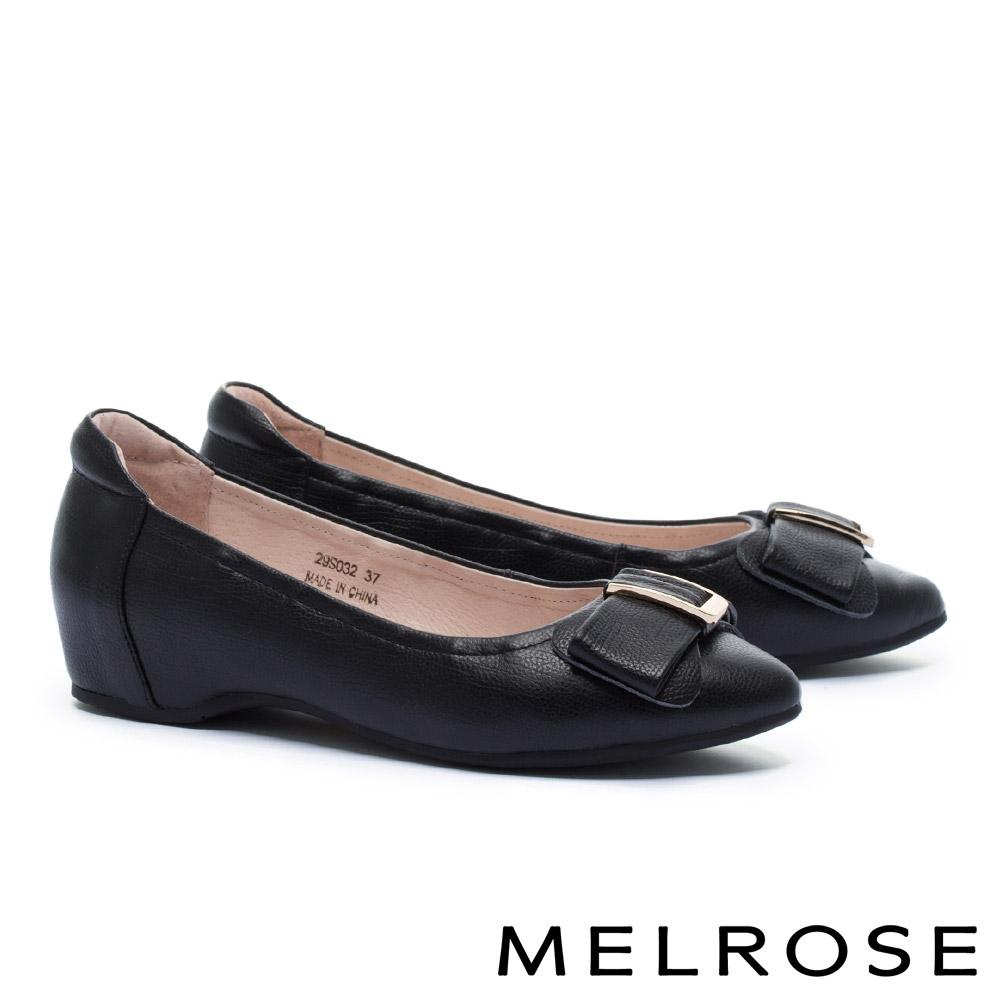 低跟鞋 MELROSE 淡雅氣質蝴蝶結金屬飾釦全真皮內增高低跟鞋-黑