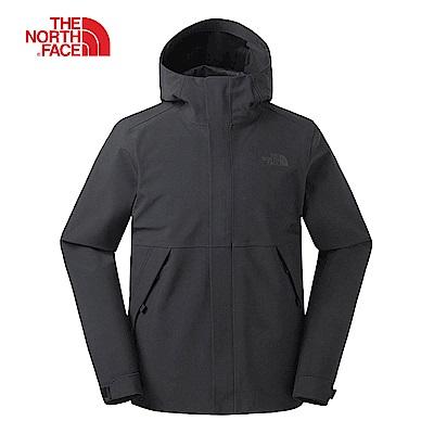 The North Face北面男款黑色防水透氣衝鋒衣|3V95JK3