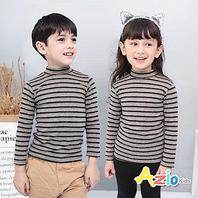 Azio Kids 上衣 磨毛條紋長袖保暖衣(咖底黑條)