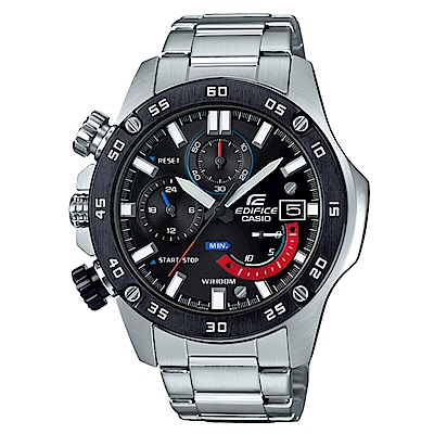EDIFICE粗曠質感風螺絲釘造型賽車運動腕錶(EFR-558DB-1)黑框48.2mm