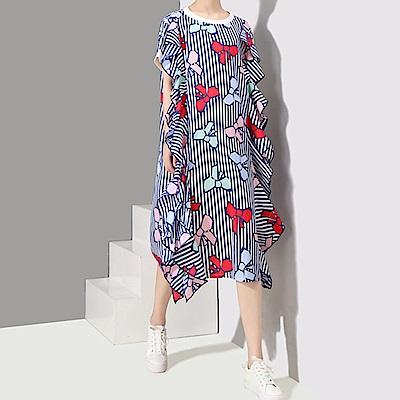 彩結印圖荷葉裝飾條紋洋裝-(共二色)Andstyle