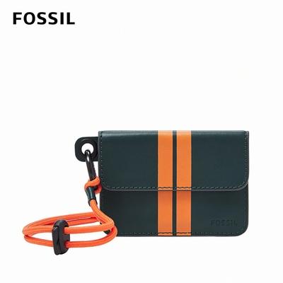 FOSSIL Lance 掛繩撞色真皮卡夾-藍色 ML4341470