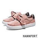 HANNFORT CAMPUS絨感蝴蝶結厚底休閒鞋-女-梅粉