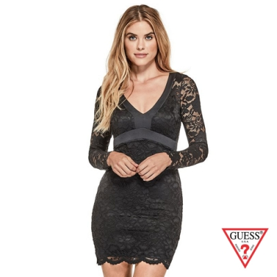 GUESS-女裝-修身剪裁蕾絲V領洋裝-黑