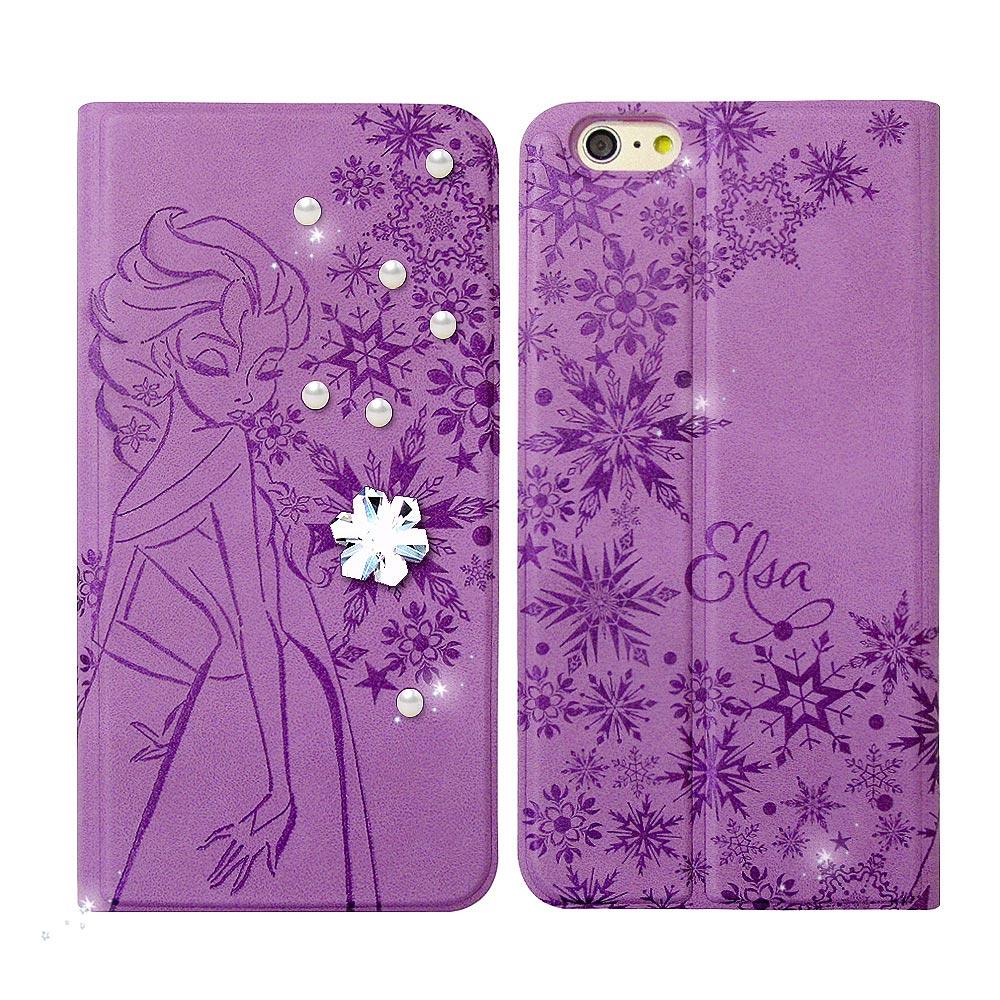 迪士尼授權 冰雪奇緣 iPhone 6/6s 4.7吋 珍珠水晶浮雕皮套(艾莎)