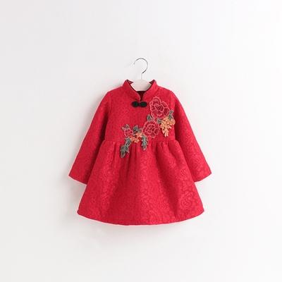 colorland 刺繡花朵 蕾絲旗袍領 加絨洋裝