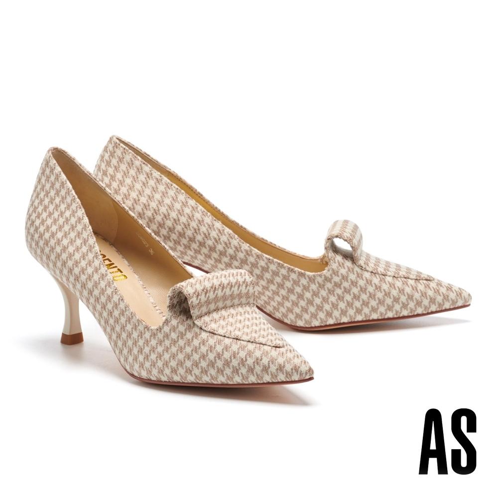 高跟鞋 AS 復古潮流學院風格牛皮樂福尖頭高跟鞋-米