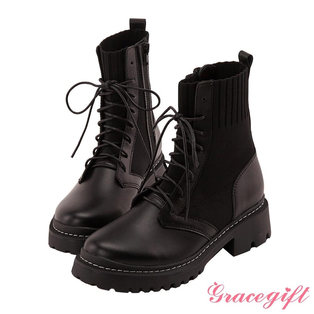 Grace gift X Kerina-聯名真皮針織綁帶軍靴 黑