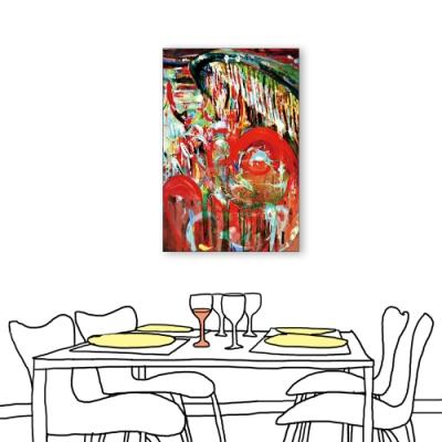 24mama掛畫-單聯式 藝術抽象 油畫風無框畫 40X60cm-紅的抽象