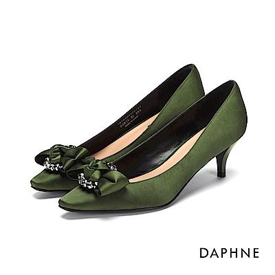 達芙妮DAPHNE 高跟鞋-緞面水鑽蝴蝶結高跟鞋-綠