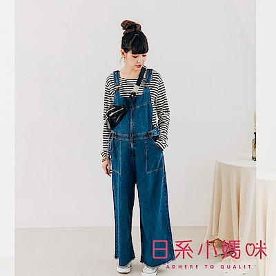 日系小媽咪孕婦裝-孕婦褲~個性風前拉鍊牛仔吊帶寬褲 M-XL