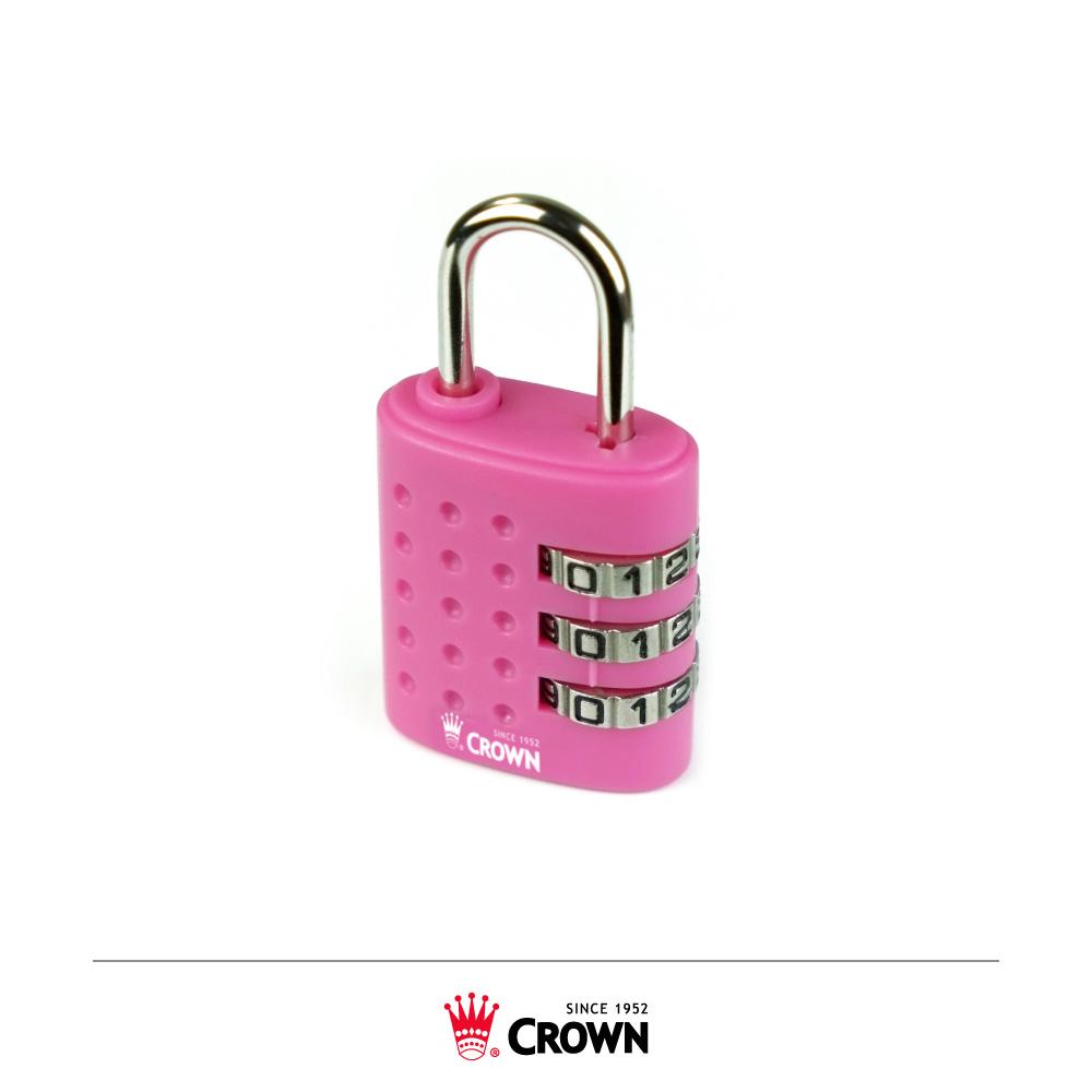 CROWN 皇冠 三碼密碼鎖 鎖頭掛鎖 粉紅