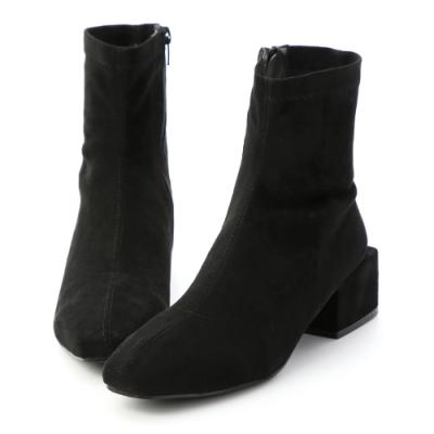 D+AF 冬氛專屬.超軟絨料積木跟襪靴*黑絨