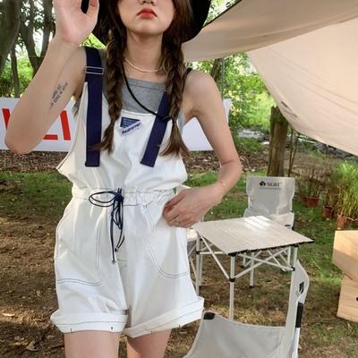 La Belleza撞色肩帶標籤車線腰抽繩褲管反折連身五分褲