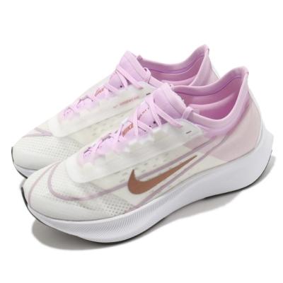Nike 慢跑鞋 Zoom Fly 3 運動 女鞋 氣墊 舒適 避震 路跑 健身 球鞋 粉 白 AT8241103