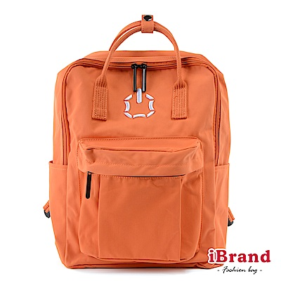 iBrand後背包 簡約素色輕旅行大開口手提後背包-橘色