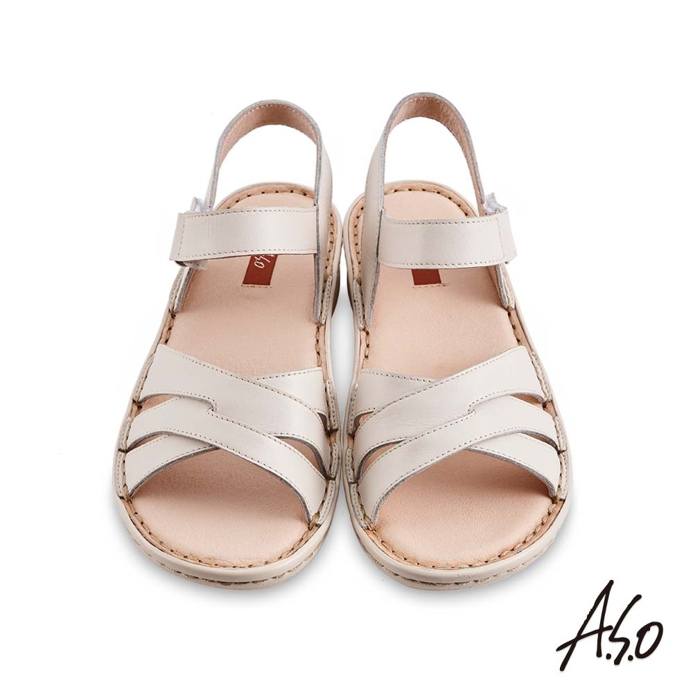 A.S.O機能休閒 輕量樂活經典版型設計休閒涼鞋-米