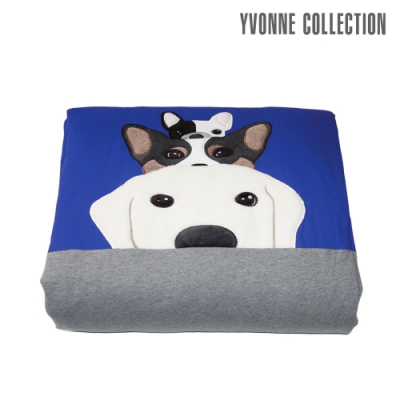 YVONNE COLLECTION 【買就送驅螨噴霧】搗蛋狗四季被(4x5呎)-藍/灰