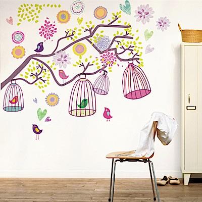 半島良品 DIY無痕壁貼-多彩鳥籠樹 AY993 60x90cm