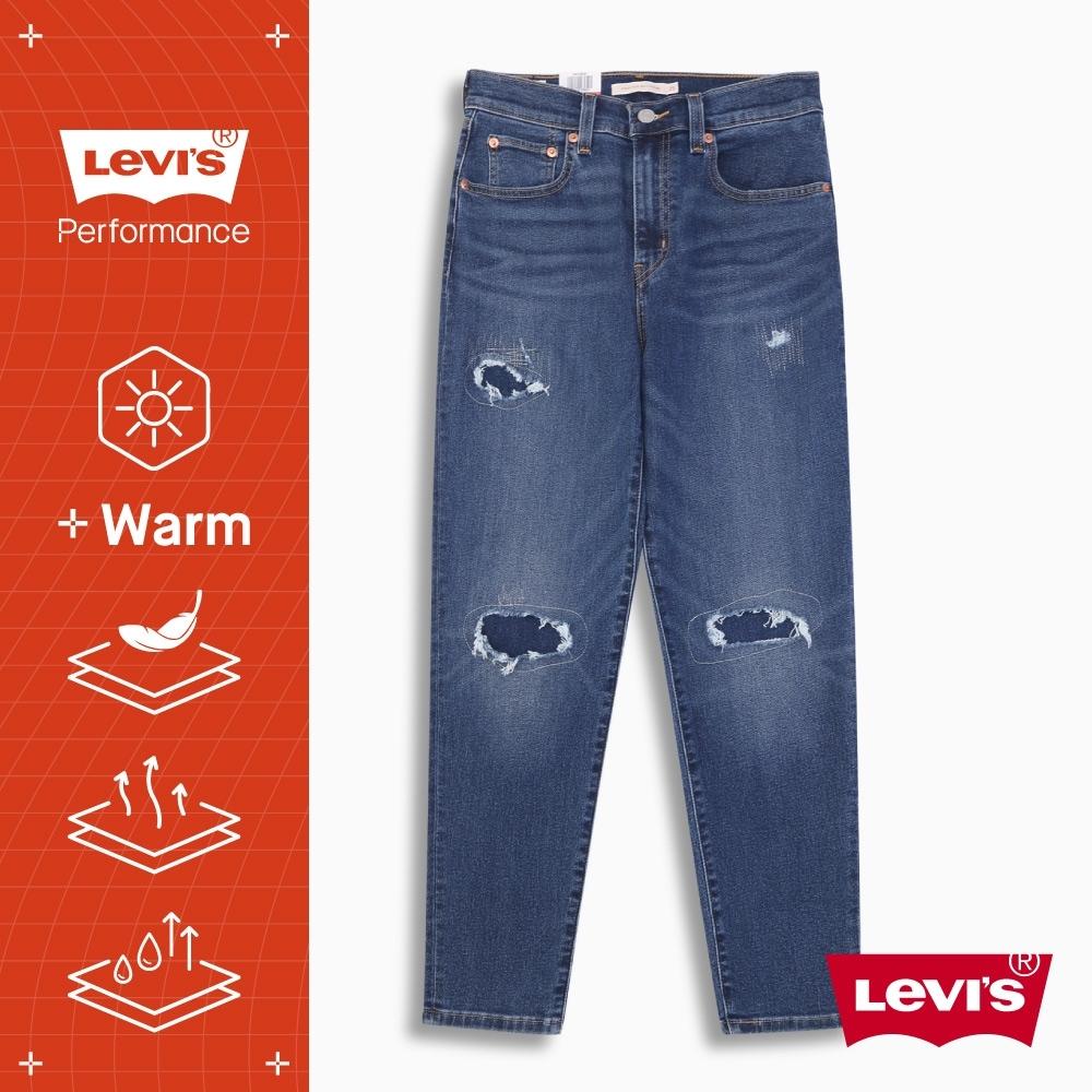 Levis 高腰男友褲 上寬下窄寬鬆版牛仔褲 WARM JEANS 機能保暖內刷毛 精工作舊補丁