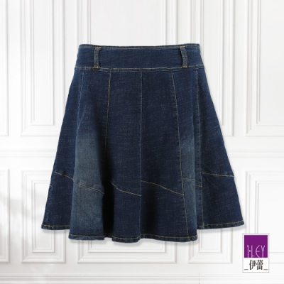 ILEY伊蕾 12片剪裁水洗牛仔短褲裙(藍)