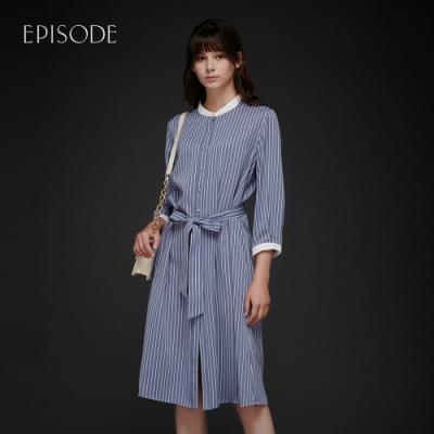 EPISODE - 條紋個性立領撞色拼接長款襯衫洋裝(藍)
