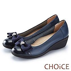CHOiCE 舒適甜美 蝴蝶結愛心鑽飾牛皮坡跟鞋-藍色