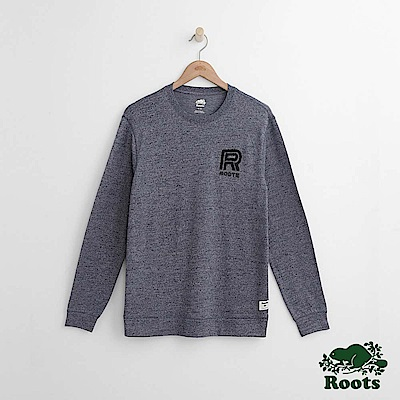 Roots 男裝- 左胸刺繡長袖T恤-藍