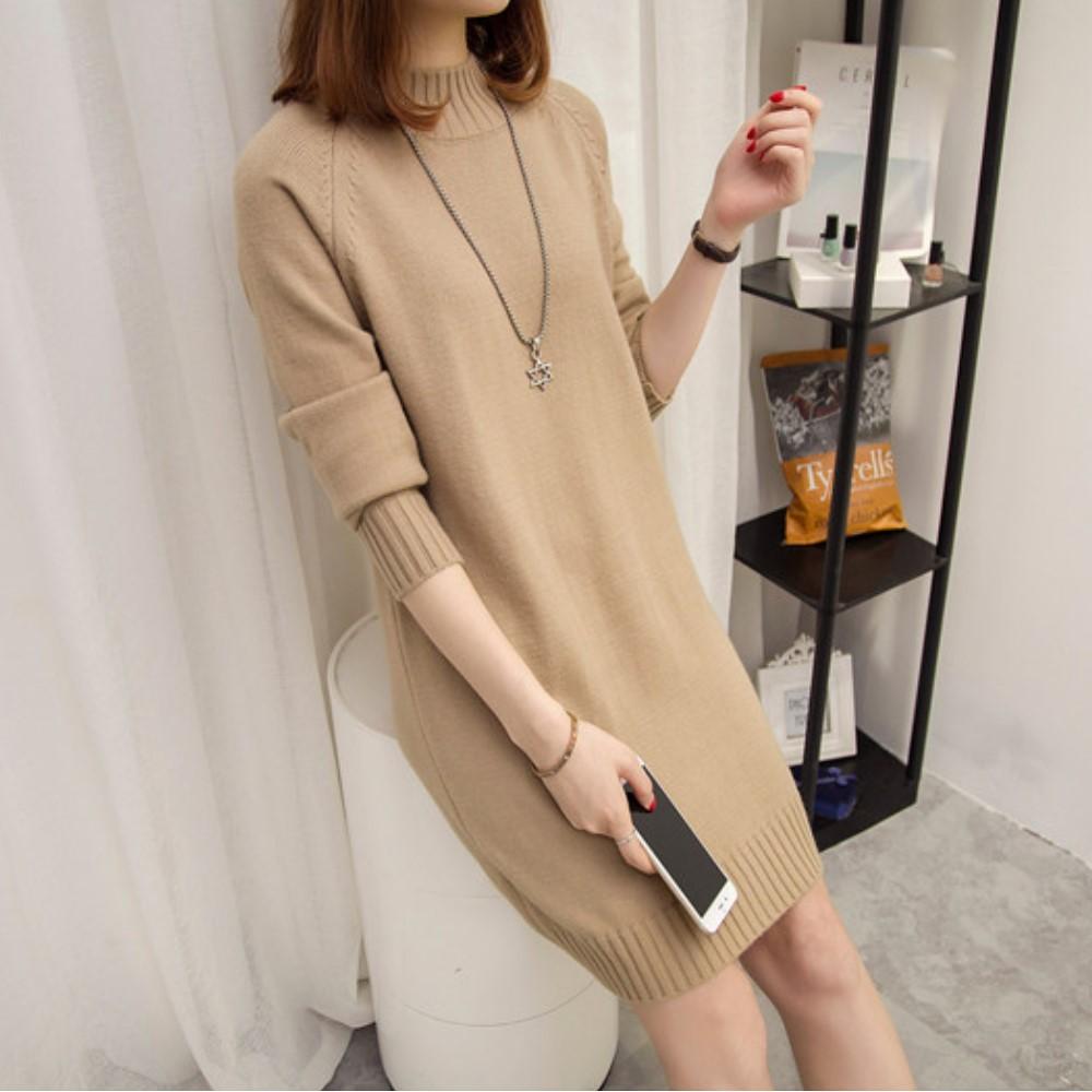 出清La Belleza半立領羅紋領袖口羅紋素色針織洋裝 product image 1
