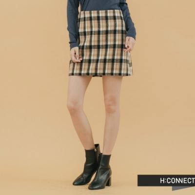 H:CONNECT 韓國品牌 女裝 - 格紋毛呢短裙-卡其