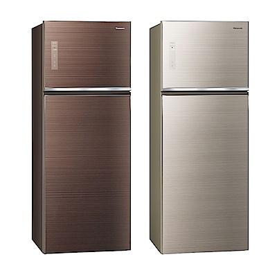 [無卡分期12期]Panasonic國際牌 玻璃 雙門 電冰箱 NR-B489TG