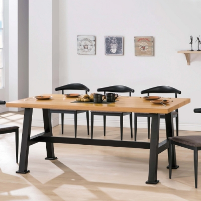 H&D 諾亞實木面6尺黑腳餐桌