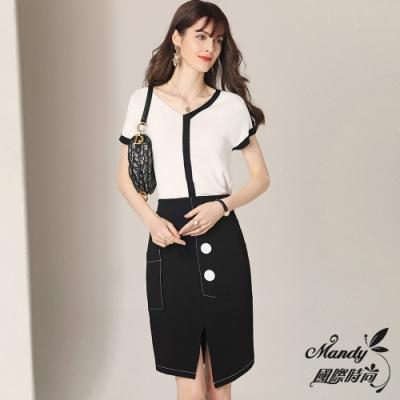 Mandy國際時尚 冰絲線條針織上衣+開叉包臀裙兩件套裝 (1色)【法式服飾】