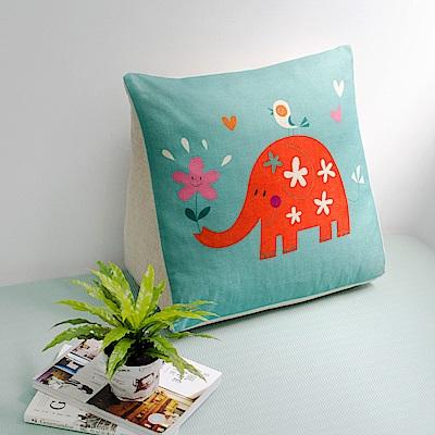 【收納職人】Zakka日系雜貨風棉麻織紋舒壓三角抱枕/靠枕/腿枕(綠底小花象)