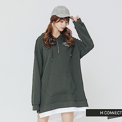 H:CONNECT 韓國品牌 女裝-拉鍊造型印字帽T-綠